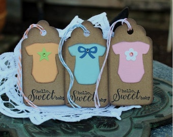 Baby Gift Tags  - set of 8 - Baby Shower Tags - Onsie with bow, star, flower, heart  - Hello Sweet Baby