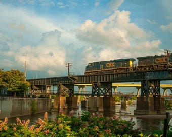 SALE Belle Isle Train Photo, Railroad in Downtown Richmond Va, Architecture Photo, Photo Art, Framed Photography Option