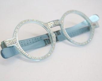 Vintage Glasses Frames Unique Round Rhinestone Glasses vintage Eyeglass Frames 1980s Retro Eyeglasses