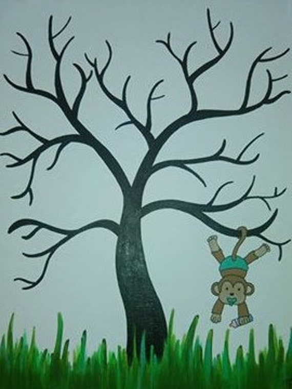 Baby Shower Guestbook Tree Thumbprint Tree Custom Made to Order Children's Art Acrylic on Canvas 8x10, 9x12, or 11x14 inch Painting OOAK