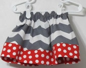 Gray chevron and red white polka dot skirt - Baby simple skirt - baby clothes - Infant Girl handmade skirt - girls clothes -   Size 9 months