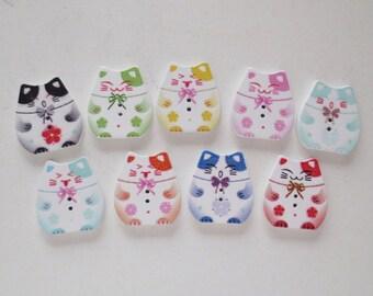 9 pcs Maneki-Neko Wood Button Sampler - Mixed Colors