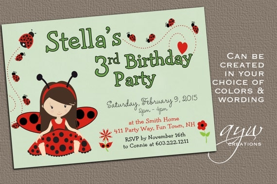ladybug birthday invitation girl third birthday ladybugs party