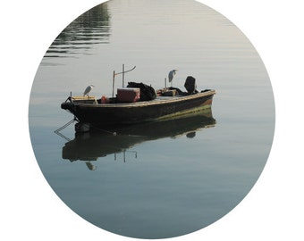 Items similar to the lonely fisherman on a dusky morning for Circle fishing boat