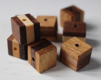 SALE Handmade wooden cube beads