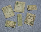 Gaël Miniature Antique Letter set vintage mail green shabby chic handmade ACCESSORIES 1:12 Dollhouse Miniature