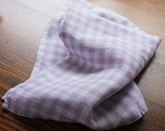 Pure Linen Napkin Set of 6 SHIPPING WORLDWIDE  handmade Squares Checkered Lunchbox napkins Gingham Table linen Purple R110