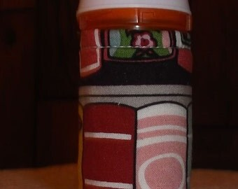 BOOK SPINE Print Fabric QUILTED Pill Bottle for meds, candy, gift bag, etc