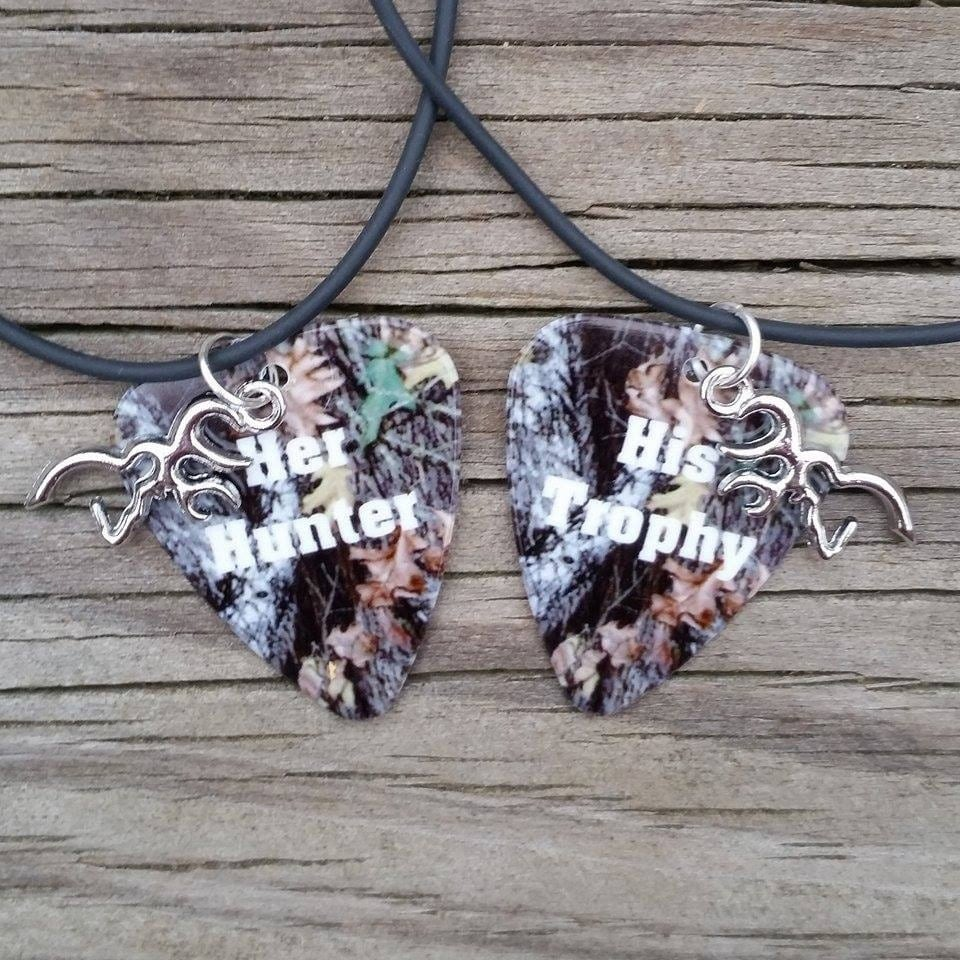 her hunter his trophy deer silver charm camo guitar pick