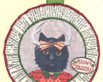Black Cat | Black Cat Christmas Ornament | Vintage Stlye | Christmas Ornament | Kitty Ornament