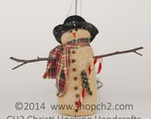Snowman Ornament, Handmade Snowman Ornament