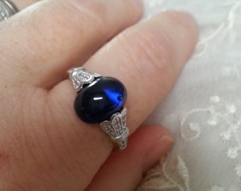 Art Deco Sapphire Cabochon Engagement Ring