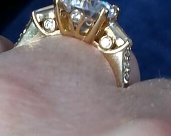 Vintage Gold Vermeil CZ Engagement Ring