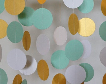 Mint Wedding Decoration, Mint - Gold - White Garland, Baby Shower Decor, Nursery, Birthday Party, 10 ft. long