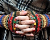 DIY Knitted Fingerless Mitts Gloves kit Primary colors - PDF pattern download and materials