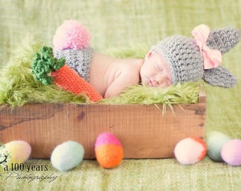 Newborn Crochet chunky Bunny Beanie and Diaper cover - photography prop - Made to order