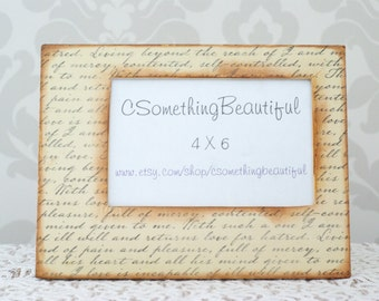 Rustic, Vintage Style Picture Frame, 4X6, Vintage Scroll, Distressed, Wedding Centerpiece