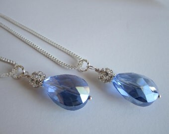 Cornflower Blue Bridesmaid Necklace Bridesmaid Jewelry Blue Wedding Bridal Party Maid of Honor