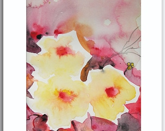 Original Painting art ORIGINAL Watercolor Painting art gift by Tatjana Ruzin - Yellow Roses - spring flowers gifts for her