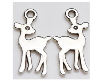 10 Cute DEER Charms Shiny Silver Tone Double Sided Wildlife Forest Animals Bambi Sweet Deer Charm Jewelry 21x11 mm