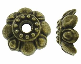 24pc 9mm antique bronze finish metal bead caps-2380E