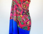 Hot Pink Floral Crepe de Chine Silk with Cobalt Blue Silk Border Kaftan by Molly Kaftans