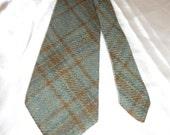 Vintage Men's Wool Green & Brown Plaid Neck Tie