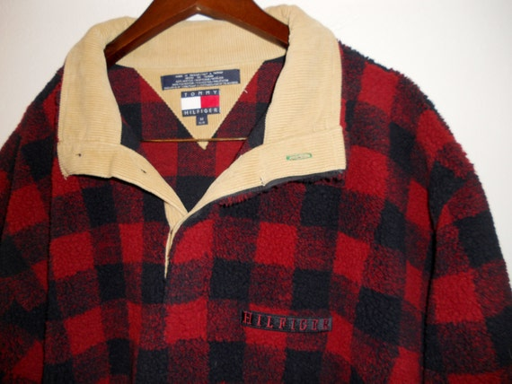 Vintage Tommy Hilfiger buffalo plaid fleece jacket with