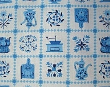 Vintage 36 inch wide Blue and White Kitschy Kitchen Print Fabric 3 yd