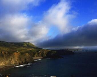 "coastal landscape photography / nature California Pacific Ocean cloud sky art print / green blue large wall art / ""Sonoma Coast fog bank"""