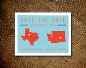 Modern Two States Save the Date Magnets or Card - Choose Your City and State - Custom save the date magnets