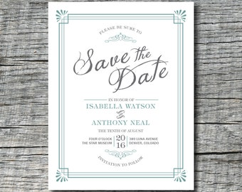 Gatsby Save the Date Magnets or Save the Date Cards - Old Fashioned Style Custom save the date magnets