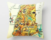 New Hampshire Pillow Decorative Pillow, Housewarming Gift, Map Art, New Hampshire State Map Pillow Cover,Concord, Hanover, Map Decor,NH  Map