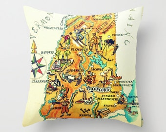 New Hampshire Pillow Cover Concord NH Map Pillow New Hampshire Pillow Portsmouth New Hampshire Gift New Hampshire State Map Illustrated Map