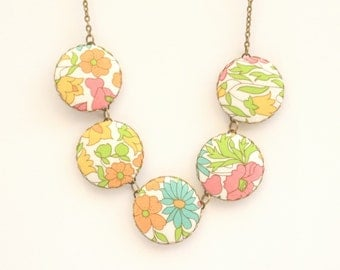 Liberty of London Five Button Fabric Necklace in Poppy and Daisy Brights