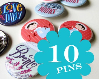 Set of ten pins, choose your favourite. Literary buttons
