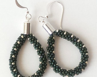 Green and Silver Kumihimo Dangle Earrings