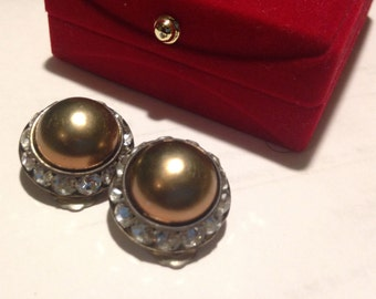 Vintage 1940s Earrings Faux Pearl Pave Channel Set with Plated Diamond Crystal Rhinestones Clip On Earrings