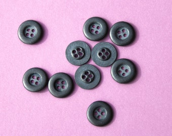 """12 Vintage 11/16"""" Metal 4 Hole Buttons. Pewter/Gray Tone. Matte Finish. Basic Design. Small Sew Through Metal Buttons. Item 3320M"""