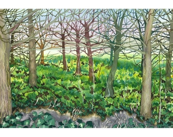 Limited Edition Giclee Print British Suffolk Forest Trees Landscape Painting