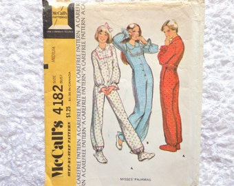 Vintage McCalls Pattern 4182  Misses' Pajamas 1974 Size Medium Uncut