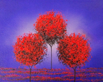 Whimsical Tree Art Canvas Print, Purple Red Dreamscape, Abstract Landscape Painting, Giclee Print of Modern Oil Painting, 5x7, 8x10, 11x14