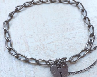 Small Sterling Silver Padlock Heart Charm and Curb Link Bracelet 7 inch long