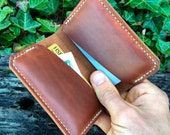 Mens leather wallet / Handmade wallet / Oil tan / Slim Wallet / Personalized / Made in the USA