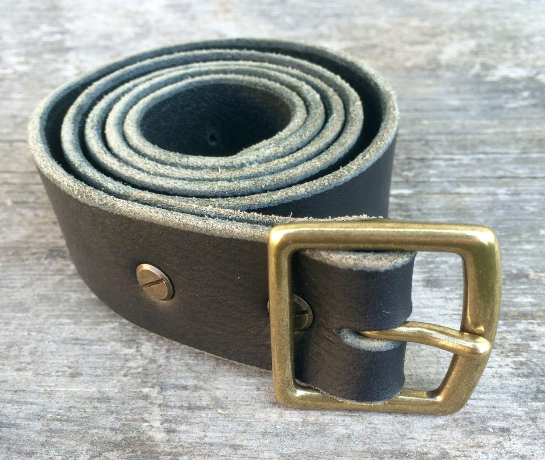 black leather belt solid brass buckle veg by