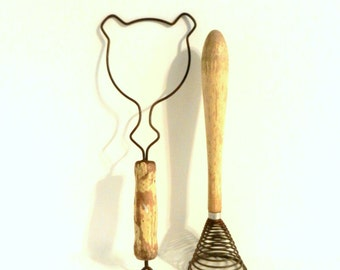 Vintage Egg Beaters with Wood Handles, Mid Century Kitchen, Cabin Cottage Farmhouse Decor, Gift for Her ** Epsteam ** Treasury