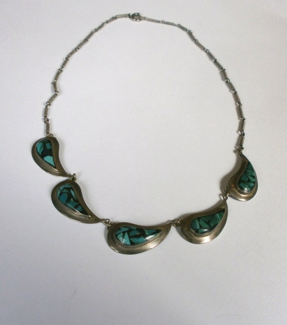 silver israeli eilat stone necklace