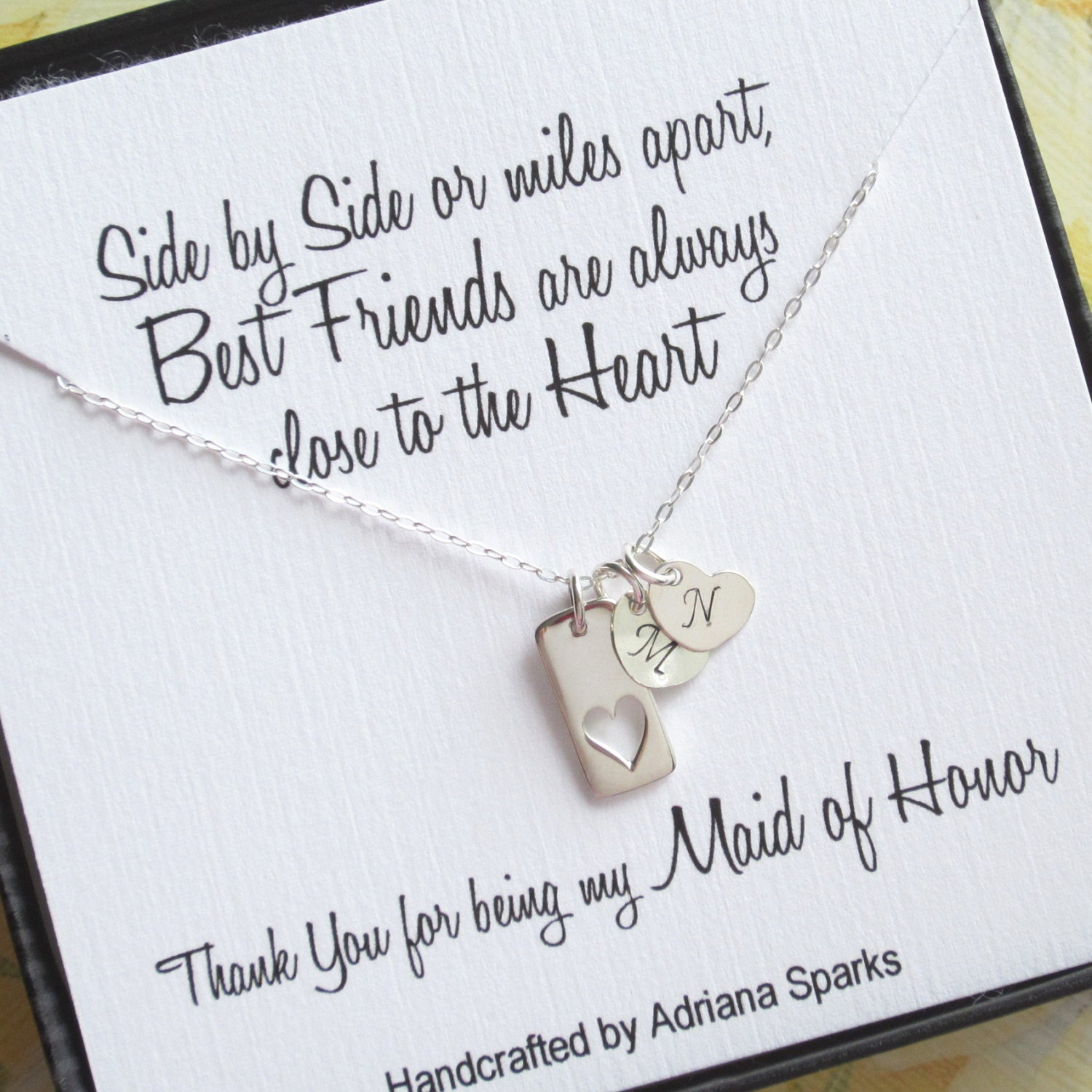 Maid Of Honor Gift Heart Necklace With Initial Maid Of Honor