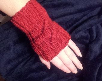 Riding Gloves Red Fingerless knitted  Handmade New