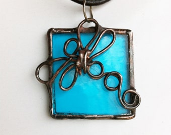 Pendant of Teal Stained Glass with Dragonfly Design Original Handcrafted Jewelry